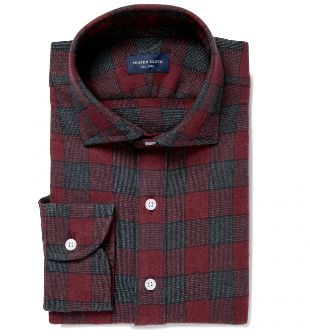Canclini Scarlet and Grey Plaid Beacon Flannel