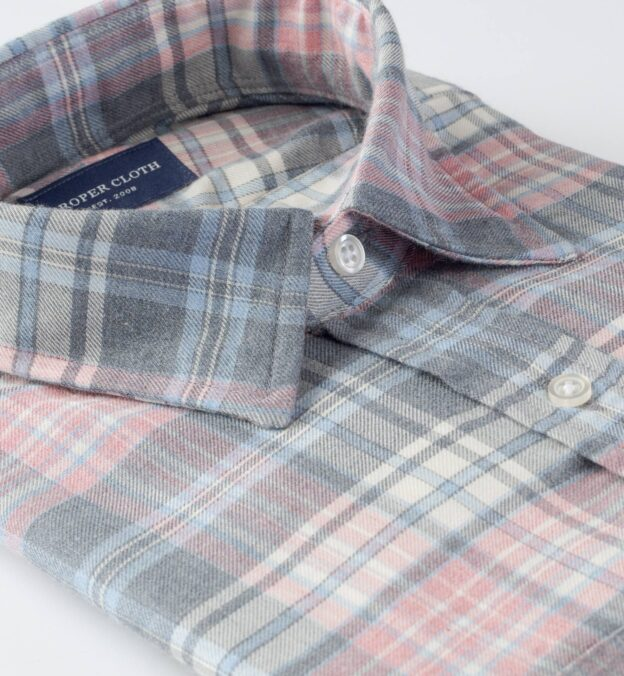 Satoyama Faded Rose and Sky Plaid Flannel