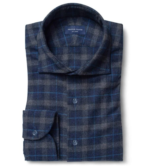 Whistler Navy and Charcoal Plaid Flannel