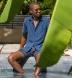 Faded Navy Terry Cloth Knit Shirt Thumbnail 2