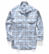 Japanese Washed Light Blue and Natural Country Plaid Shirt Thumbnail 4
