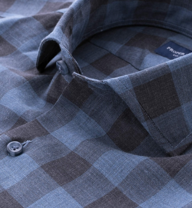 Albini Indigo and Grey Gingham Featherweight Flannel