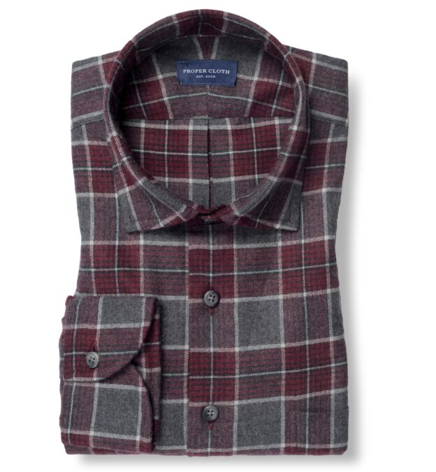 Canclini Grey and Scarlet Plaid Beacon Flannel