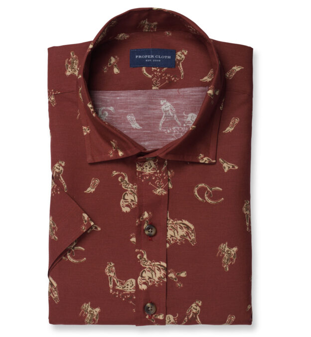 Rust Rodeo Print Cotton and Linen