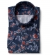 Albini Navy and Red Floral Print Tencel Shirt Thumbnail 1