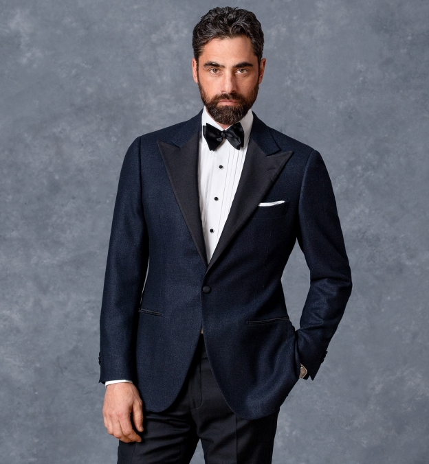 Miles White 120s Broadcloth Pleated Tuxedo Front