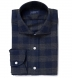 Canclini Navy and Grey Plaid Beacon Flannel Shirt Thumbnail 1