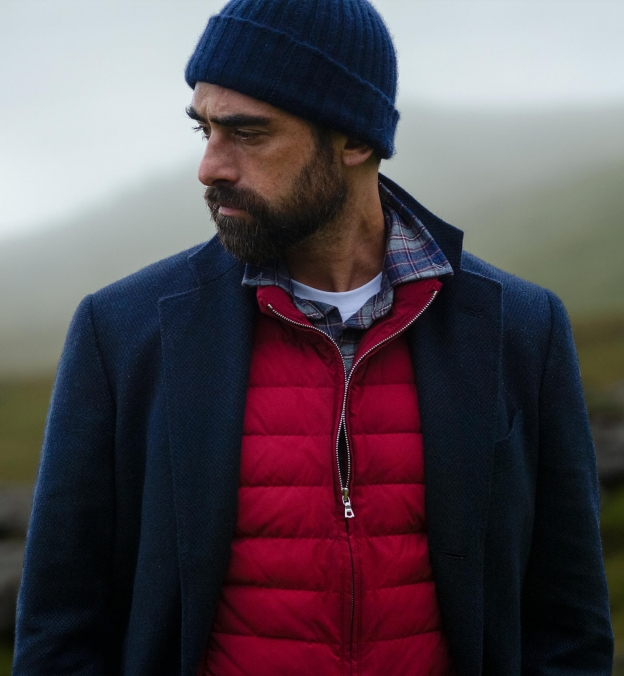 Whistler Navy Grey and Crimson Plaid Flannel