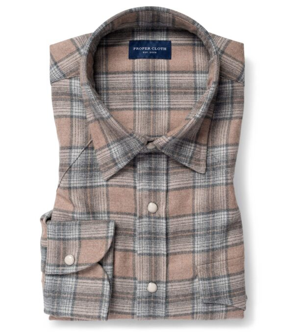 Canclini Beige and Grey Ombre Plaid Beacon Flannel