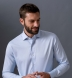 Non-Iron Supima Light Blue Twill Shirt Thumbnail 4