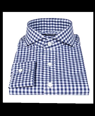 Canclini 120s Navy Gingham Men's Dress Shirt