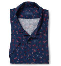 Albini Navy Tropical Critter Print Tencel Short Sleeve Shirt