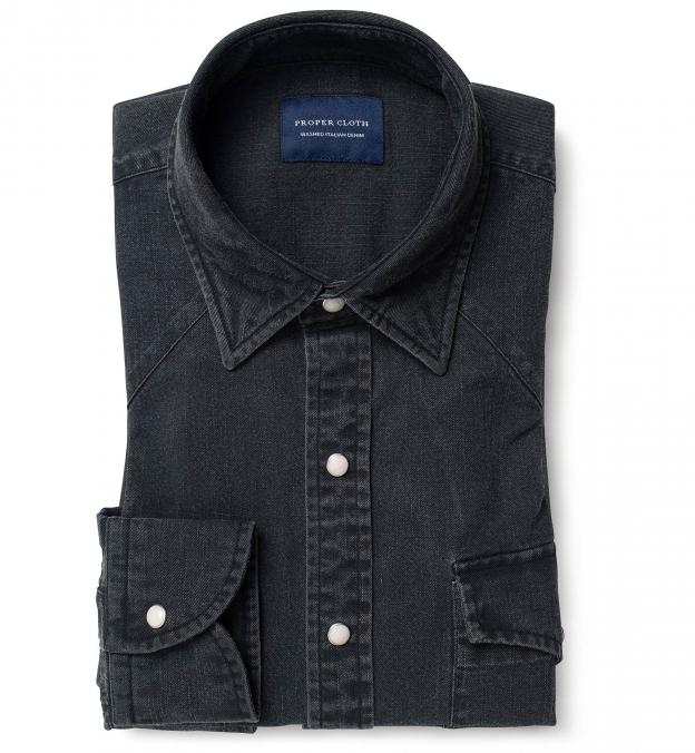 Albiate Washed Black Slub Denim Men's Dress Shirt
