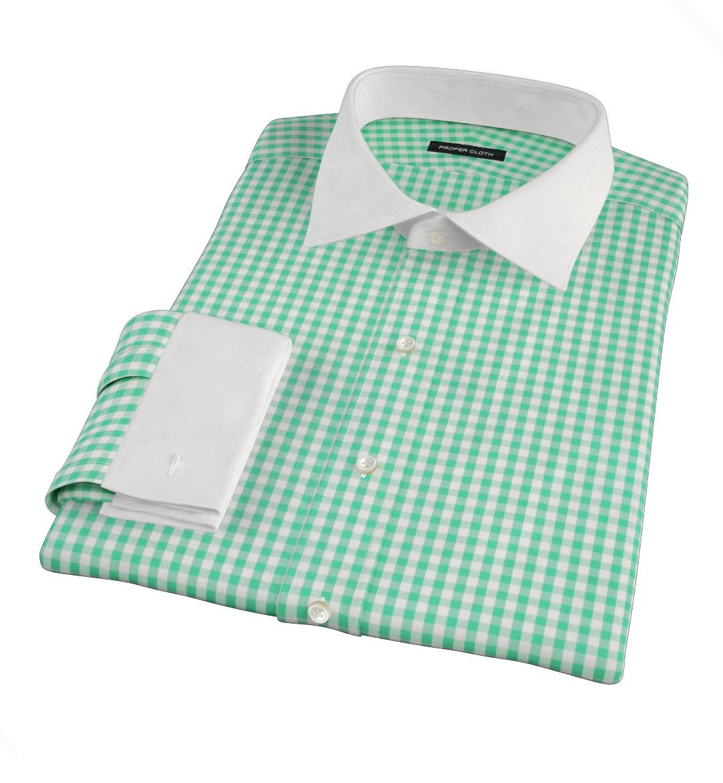Canclini Light Green Gingham Mens Dress Shirt By Proper Cloth