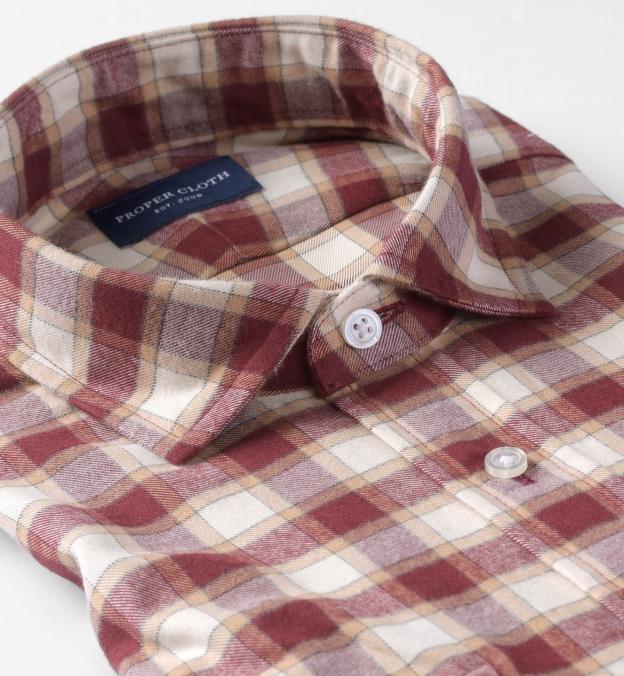 Thomas Mason Cranberry and Off White Plaid Flannel