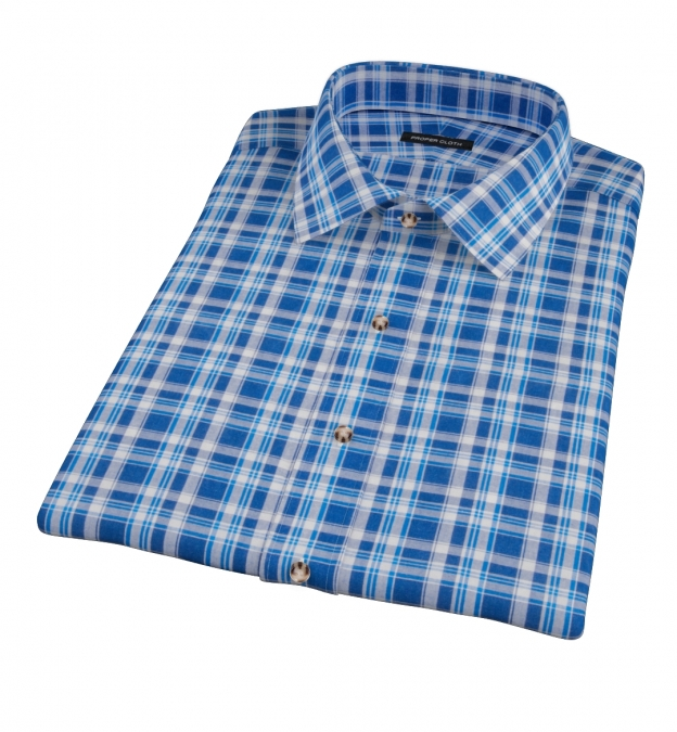 Blue and White Madras Short Sleeve Shirt