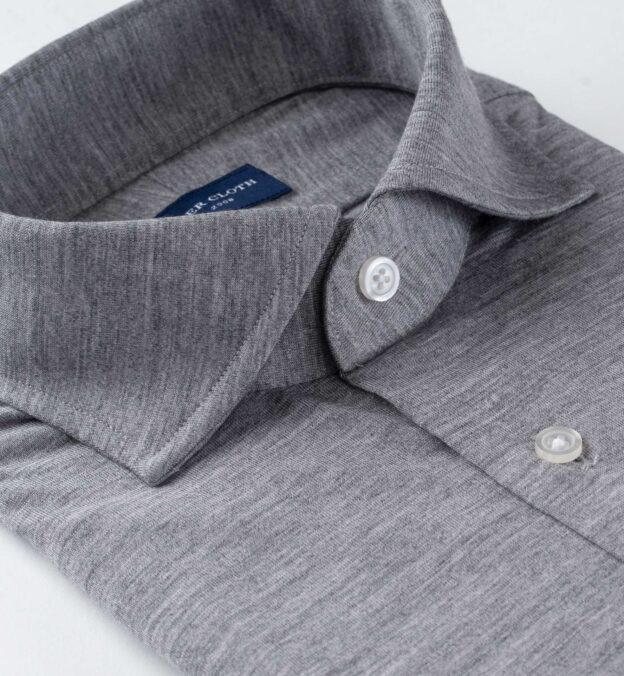 Reda Light Grey Melange Merino Wool Jersey Knit