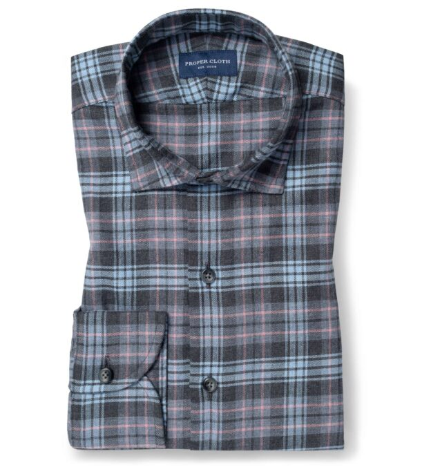 Satoyama Light Blue and Faded Rose Plaid Flannel
