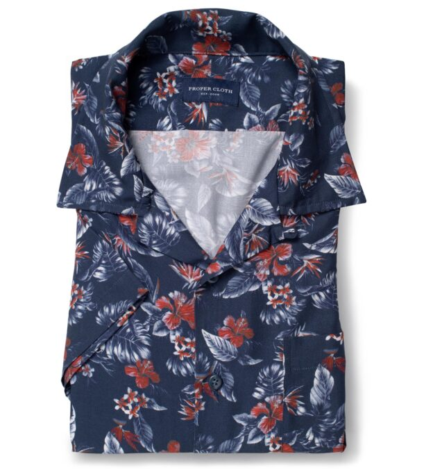 Albini Navy and Red Floral Print Tencel