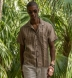 Albini Beige and White Cotton Linen Dobby Shirt Thumbnail 4