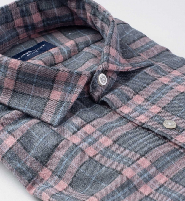 Satoyama Light Pink and Slate Plaid Flannel