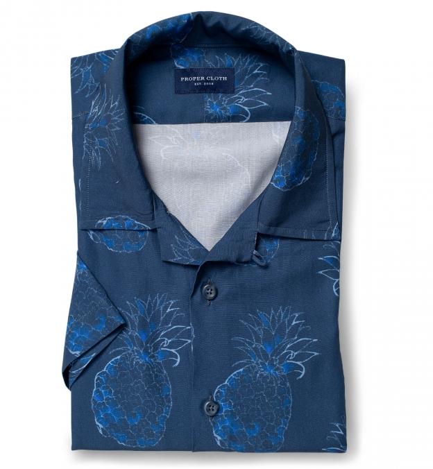 Albini Blue Large Pineapple Print Tencel