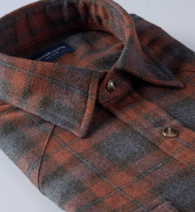 Canclini Rust and Grey Plaid Beacon Flannel