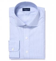 Thomas Mason Blue End-on-End Stripe Custom Made Shirt