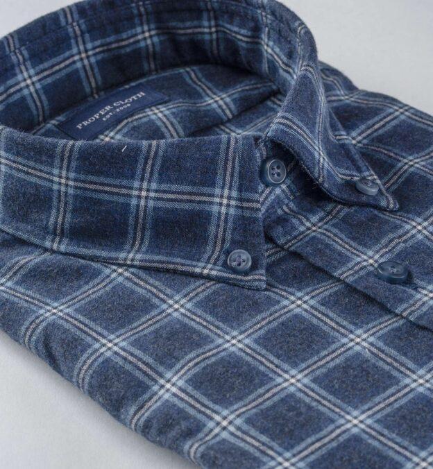 Whistler Slate and Light Blue Windowpane Flannel