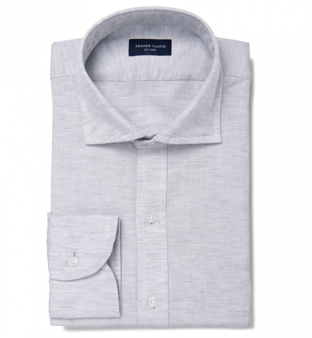 Portuguese Grey Cotton Linen Oxford