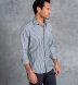 Reda Grey and Blue Melange Gingham Merino Wool Shirt Thumbnail 3