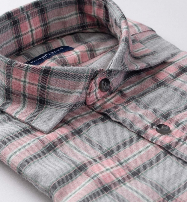 Satoyama Light Grey and Faded Rose Plaid Flannel