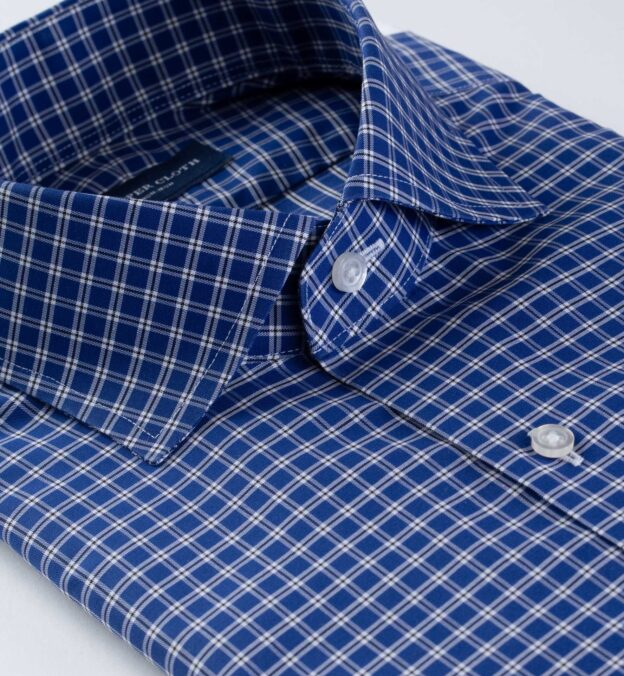 Thomas Mason Non-Iron Blue Small Check