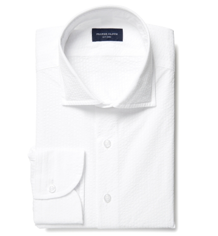 Portuguese White Seersucker Fitted Shirt by Proper Cloth 31abbb54f269