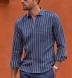 Portuguese Navy and Light Blue Aztec Stripe Shirt Thumbnail 4