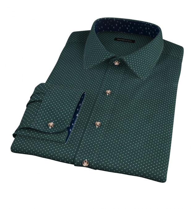 White on Green Printed Pindot Custom Made Shirt