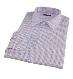 Thomas Mason Orange and Blue Check Men's Dress Shirt