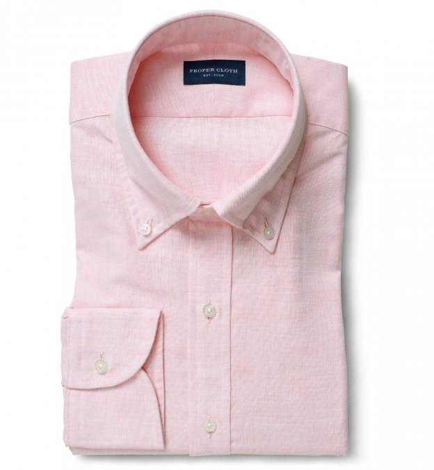 Portuguese Pink Cotton Linen Oxford Dress Shirt