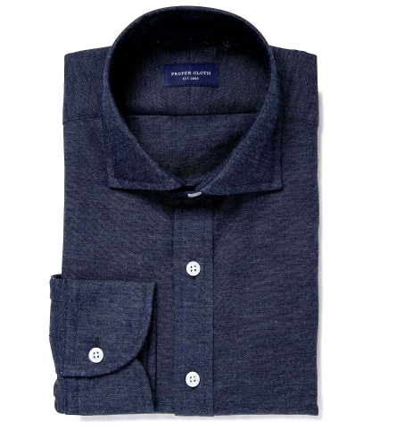 766fab29fba Japanese Washed Dark Blue Chambray Fitted Shirt by Proper Cloth