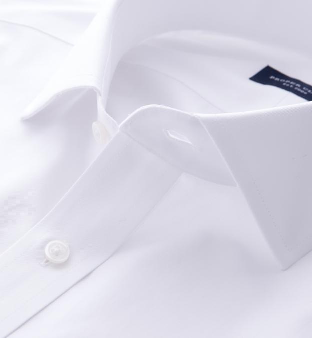 Thomas Mason White Wrinkle-Resistant Twill French Cuff