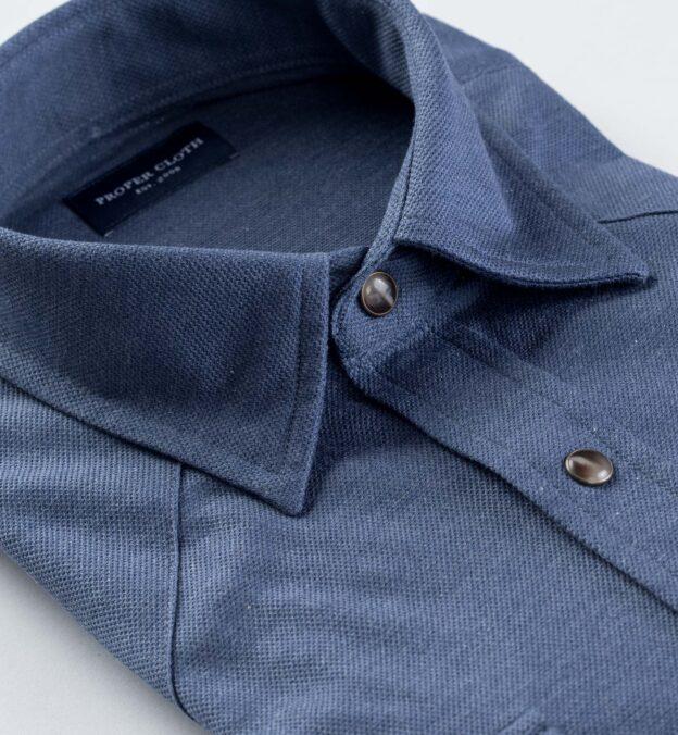 Canclini Melange Slate Blue Knit Pique