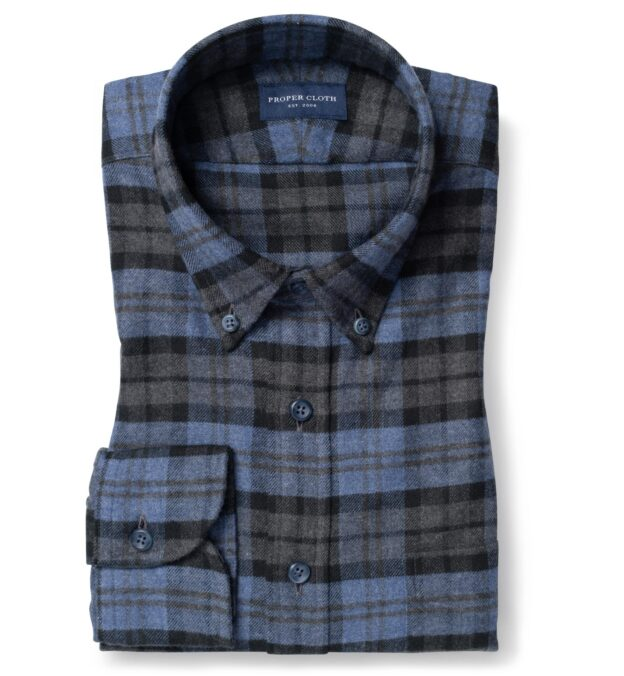Teton Heather Blue and Grey Plaid Flannel