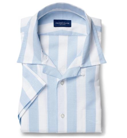 Portuguese Light Blue Extra Wide Stripe Cotton Linen Oxford