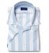 Portuguese Light Blue Extra Wide Stripe Cotton Linen Oxford Shirt Thumbnail 1