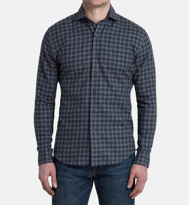 Vail Navy and Grey Gingham Lightweight Flannel