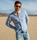 Blue Melange Cotton Linen Blend Shirt Thumbnail 3