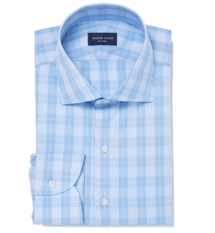 86bc0b3ee96 Canclini 120s Light Blue Multi Grid Fitted Shirt by Proper Cloth
