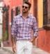 Mesa Light Blue and Rose Cotton Linen Vintage Plaid Shirt Thumbnail 2