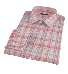 Red and Blue Organic Madras Fitted Dress Shirt