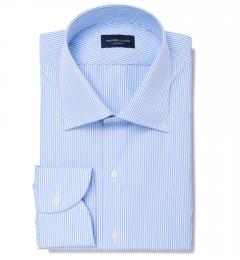 140s Light Blue Wrinkle-Resistant Pencil Stripe Custom Made Shirt